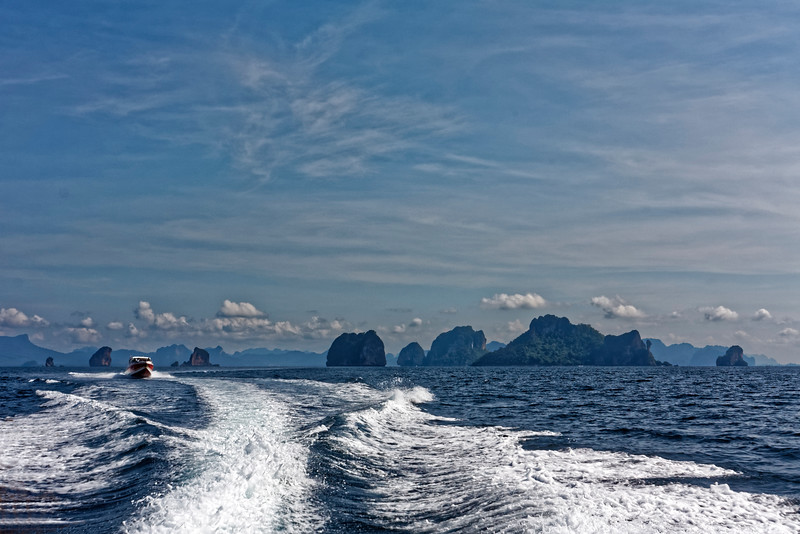Speedboats carry visitors to several of the islands in the Phi Phi Hat Nopparat Thara Marine National Park in the Andaman Sea.