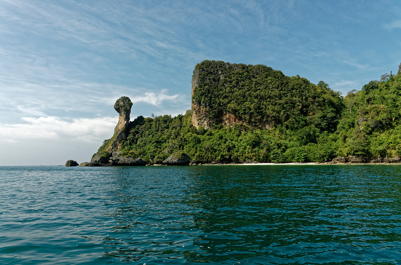 Ko Hua Kwan, 'axe head island,' as it is called by the Thais. In English it is commonly referred to as 'Chicken Island,' given its unusual configuration.