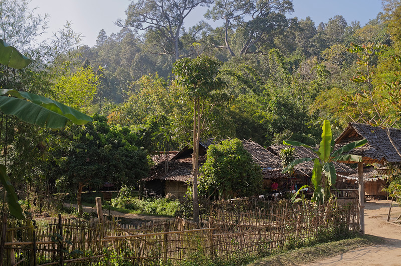 The hilltribe people of the north live very close to nature. These houses are in a hilltribe village in Mae Sa Valley, Chiang Mai Province