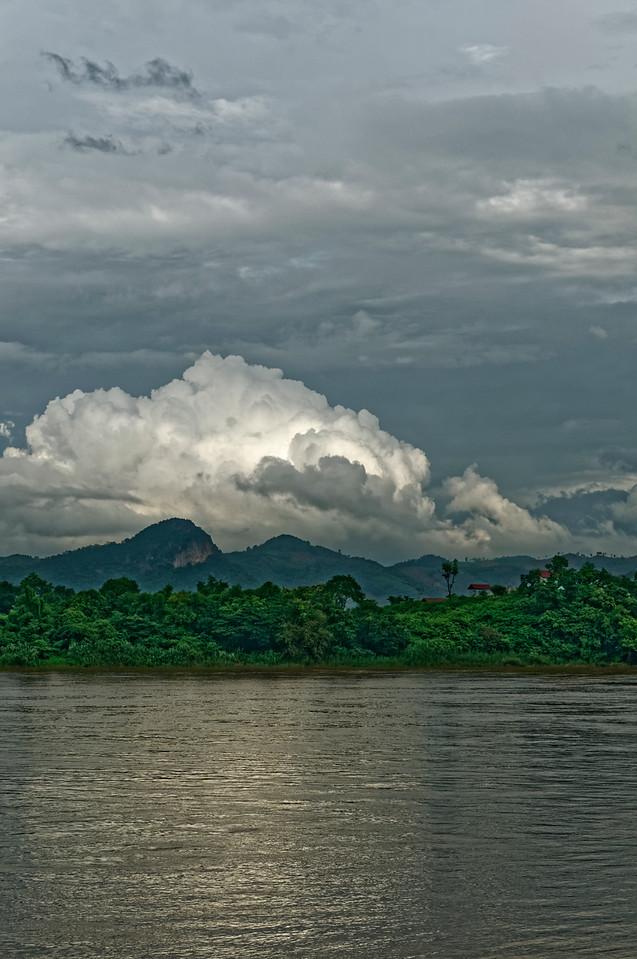 The Mekong at Chiang Khan as daylight begins to fade