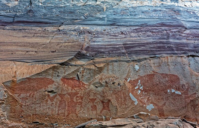 Detail of the rock paintings at Pha Taem