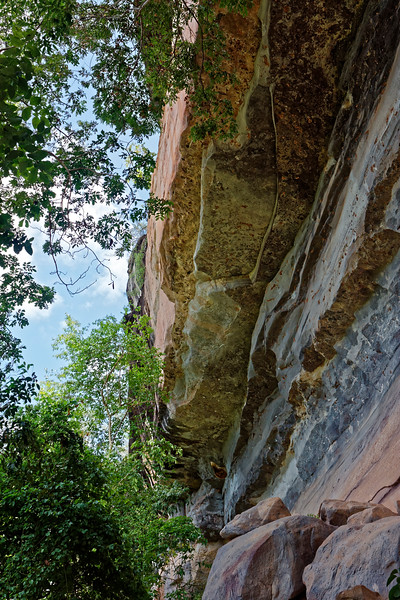 Sheer rock cliff face at Pha Taem National Park in Ubon Ratchathani Province