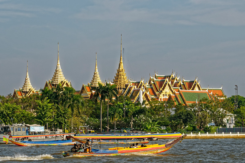 A view of the grounds of the Grand Palace and Temple of the Emerald Buddha from the Thonburi side of the Chao Phraya river