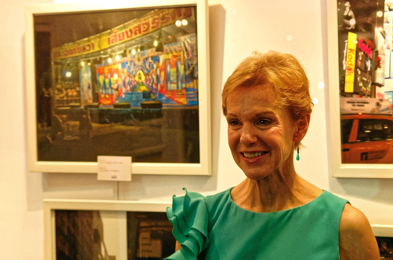 The former U.S. Ambassador to Thailand, Kristie Kenney, at the exhibition celebrating 180 years of Thai-U.S. friendship, with a photo by—uh—Jim Wageman in the background on the left. (Apologies for the poor quality of the portrait; I didn't want to use a flash.)