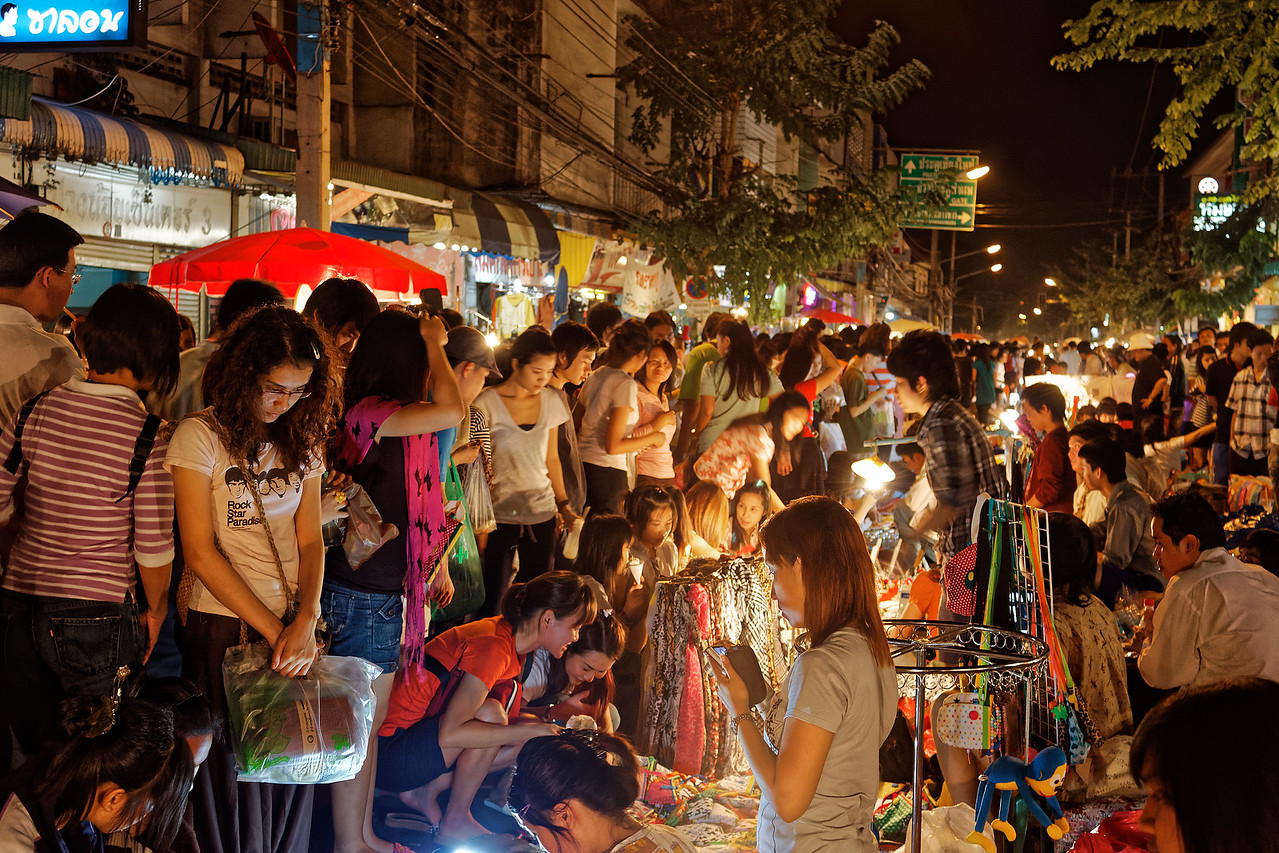 Chiang Mai's Walking Street Market attracts hordes of local people and tourists as well.