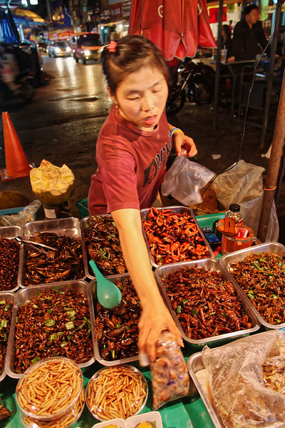 At Warorot Market one can indulge one's appetite for grasshoppers, bamboo worms, crab claws, crickets, and water striders, seen here.