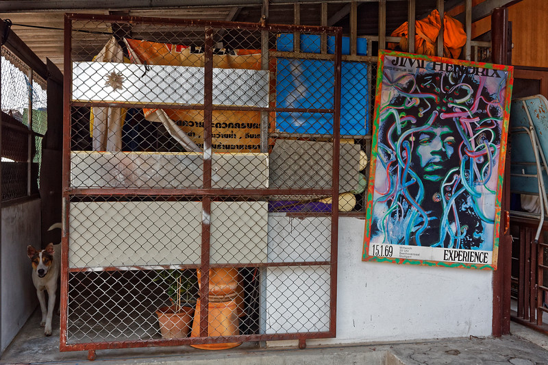 Jimi Hendrix poster outside the monks' quarters at a Chiang Mai temple