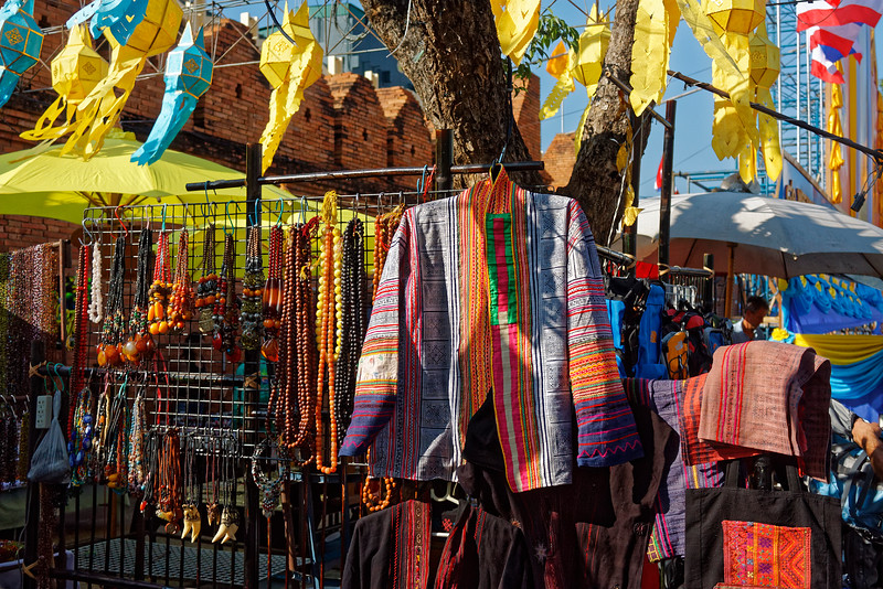 Clothing with hill-tribe fabrics at Thapae Gate