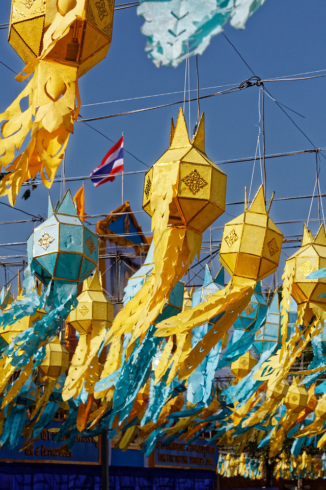 Celebratory hanging lanterns at Thapae Gate