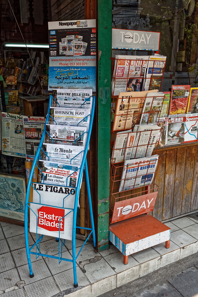 Newsstand with an array of international papers