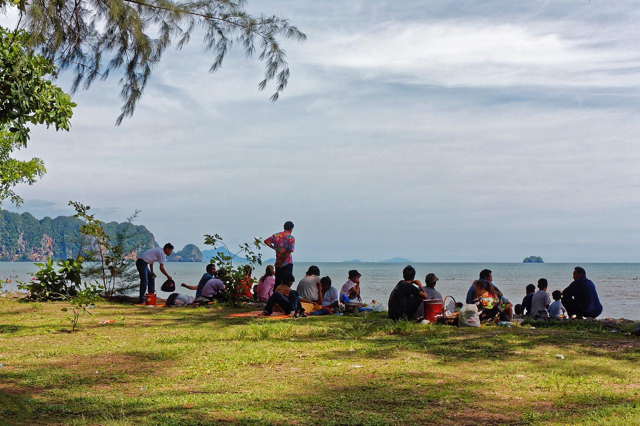 More beachgoers enjoying the vista at Nopparat Thara Beach, Ao Nang