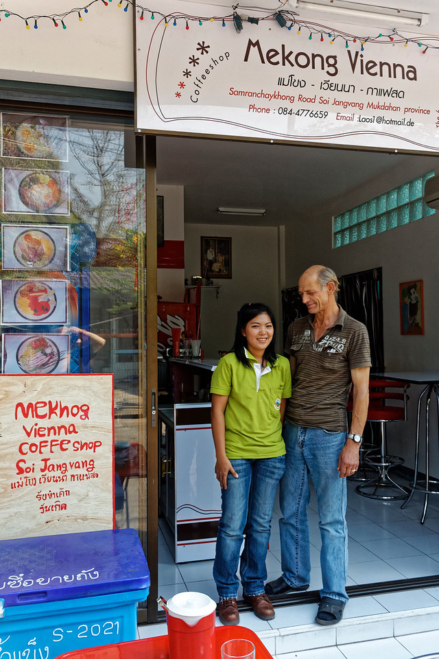 The owners of the Mekong Vienna Coffee Shop in Mukdahan, northeast Thailand