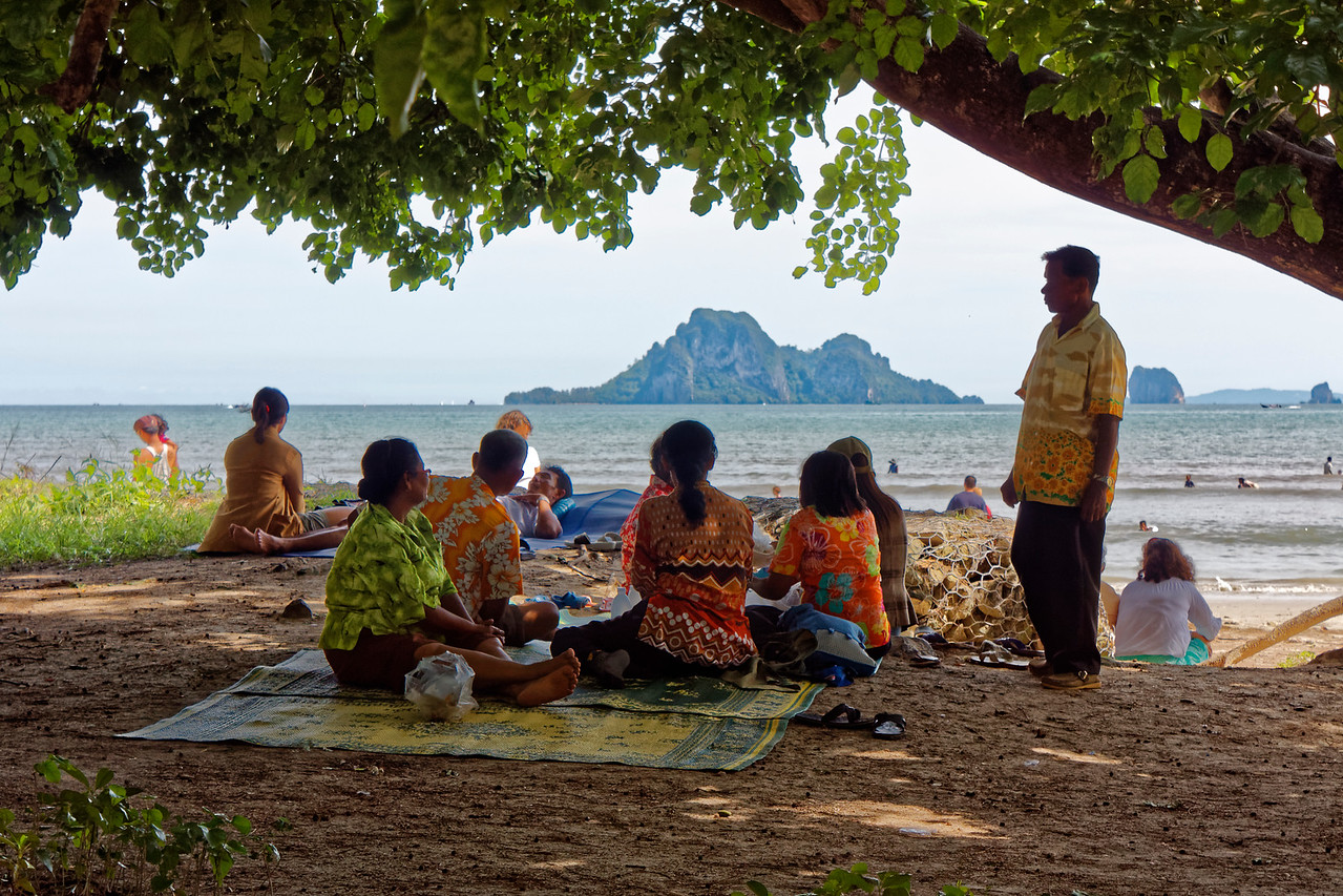 Relaxing on the beach at Ao Nang, southern Thailand