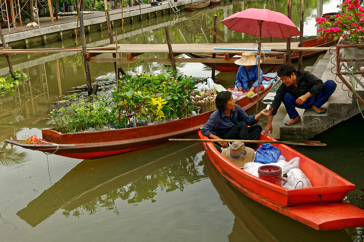 The intersection of two canals in a largely rural area of Samut Songkhram Province, southwest of Bangkok, is the site of the floating market at Tha Kha. Fresh fruits and vegetables are the principal items for sale, but other vendors offer prepared food dishes—and even plants, as seen here.