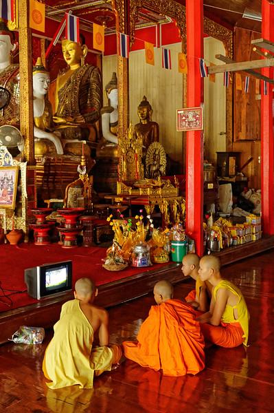 Watching a teaching video about the <i>dhamma.</i> Wat Hua Wiang, Mae Hong Song