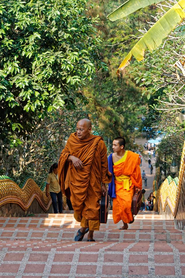 Ascending the 300 steps at the entrance to Wat Phra Boromathat Doi Suthep, Chiang Mai