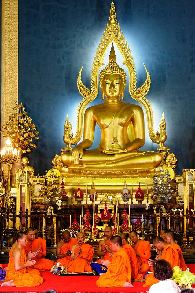 Monks at an ordination ceremony at Wat Benchamobophit, in Bangkok