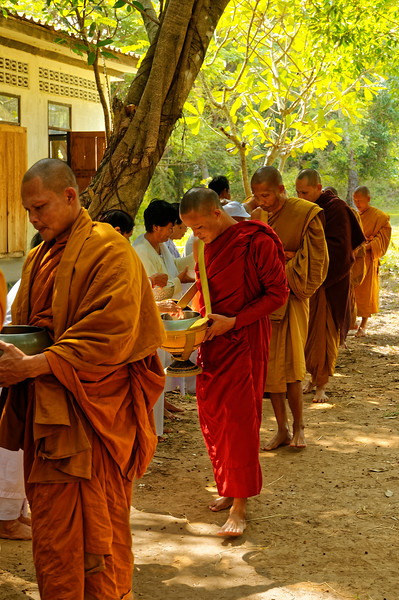 Thailand's monks emerge with their bowls every morning, sometimes before dawn.