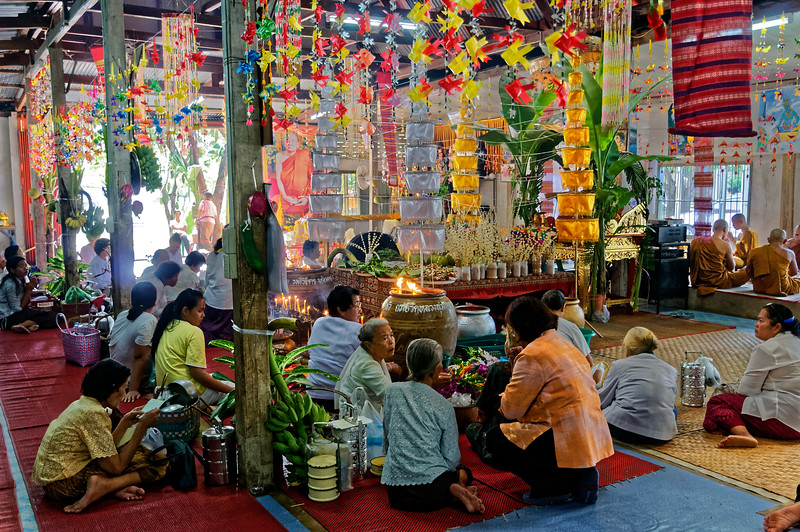 Congregants at Wat Luang, a royal temple in Sisaket, northeast Thailand