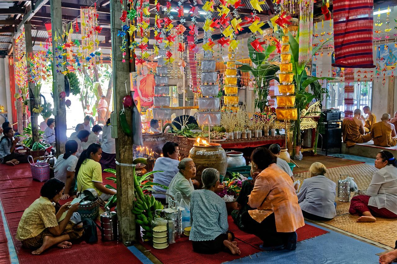 Congregants at Wat Luang, a royal temple in Sisaket, northeast Thailand