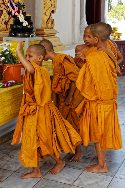 Little monks at Wat Borom Chaiya in Surat Thani, southern Thailand