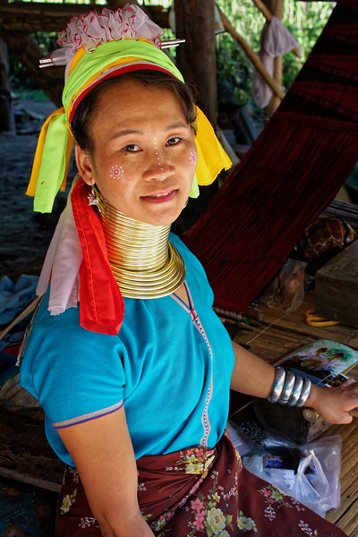Paduang woman, Mae Sa Valley. The coils are worn on arms and legs as well as around the neck.