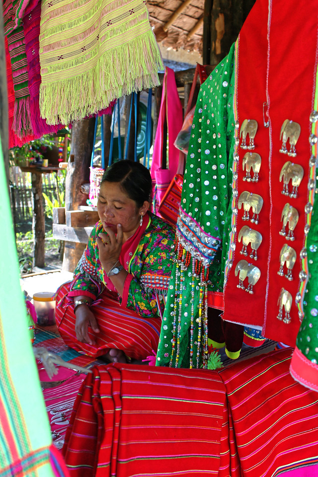 Palong hill tribe woman and some of her wares, Mae Sa Valley