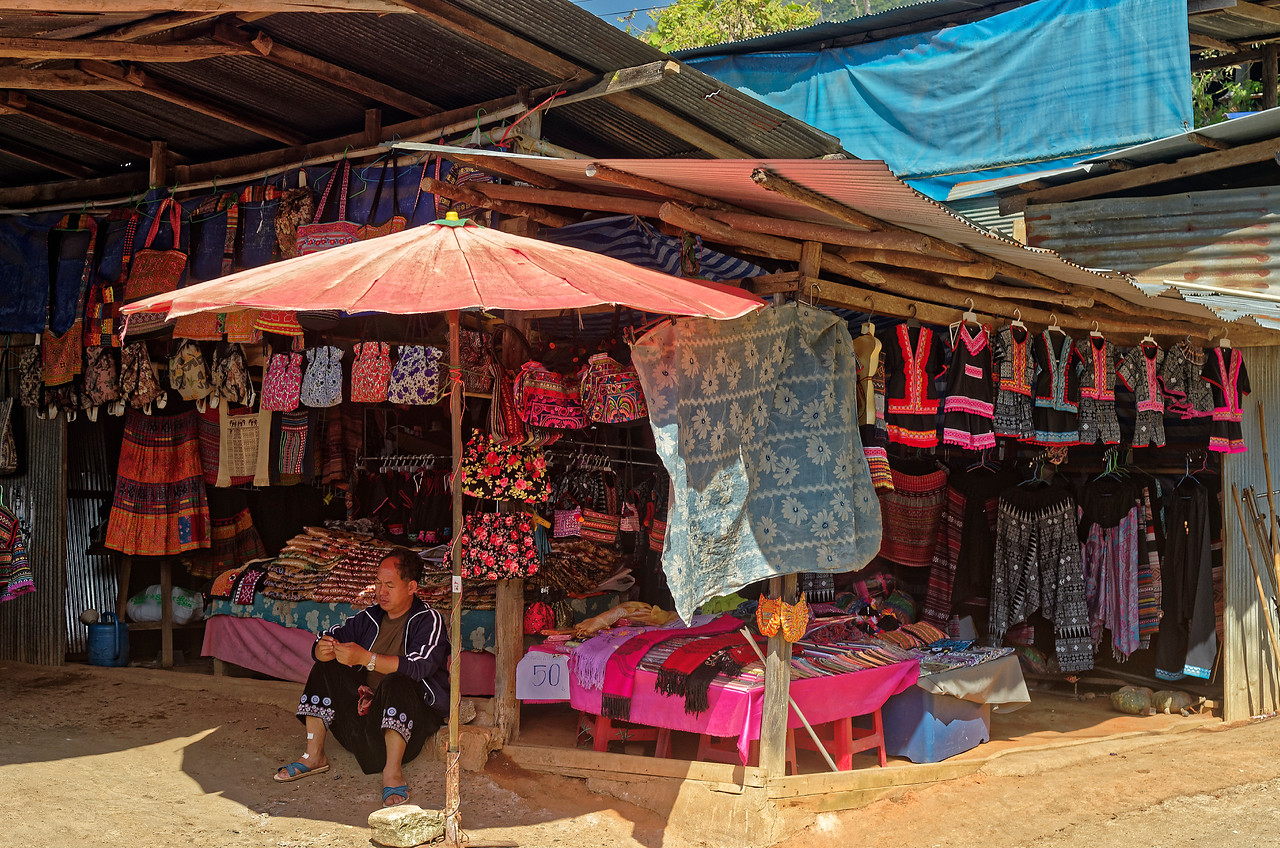 Clothing and handbags made by the Hmong, for sale at Doi Pui