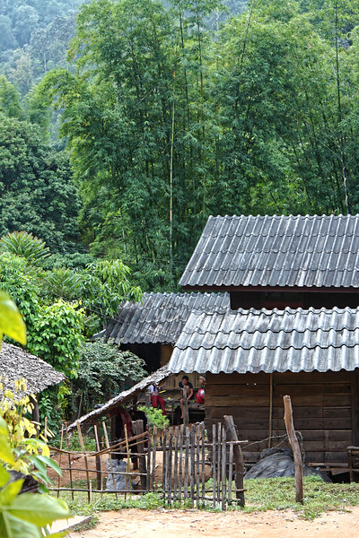 Structures at a Karen village in a lush area of the northern mountains