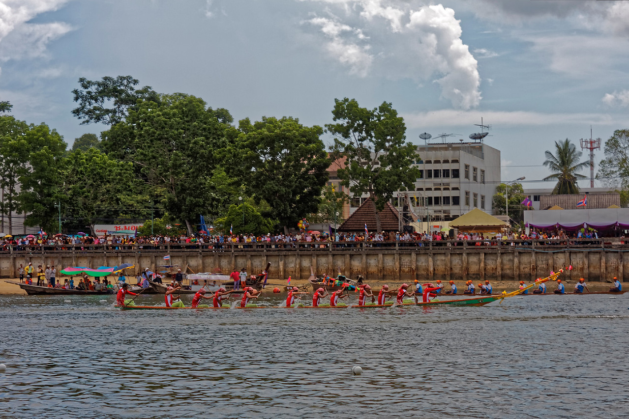 Longboat racers just after crossing the finish line at Krabi, southern Thailand
