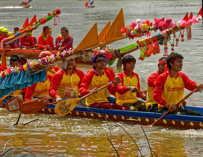 Crews waiting between heats at the competition at Rasi Salai, Sisaket Province, in northeast Thailand