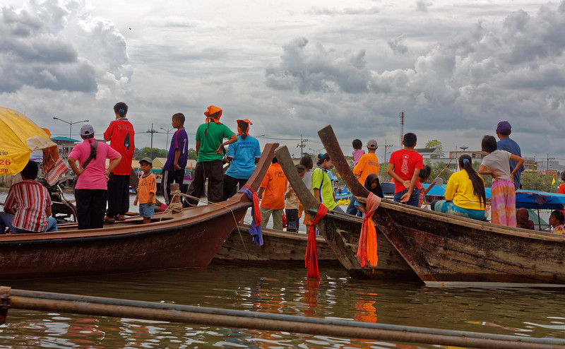 Part of the crowd that gathered in boats to watch the traditional longboat racing at Krabi