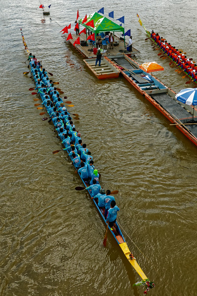 The boats themselves are usually hewn from a single tree trunk. Some have crews of 50 or more men, as seen here.