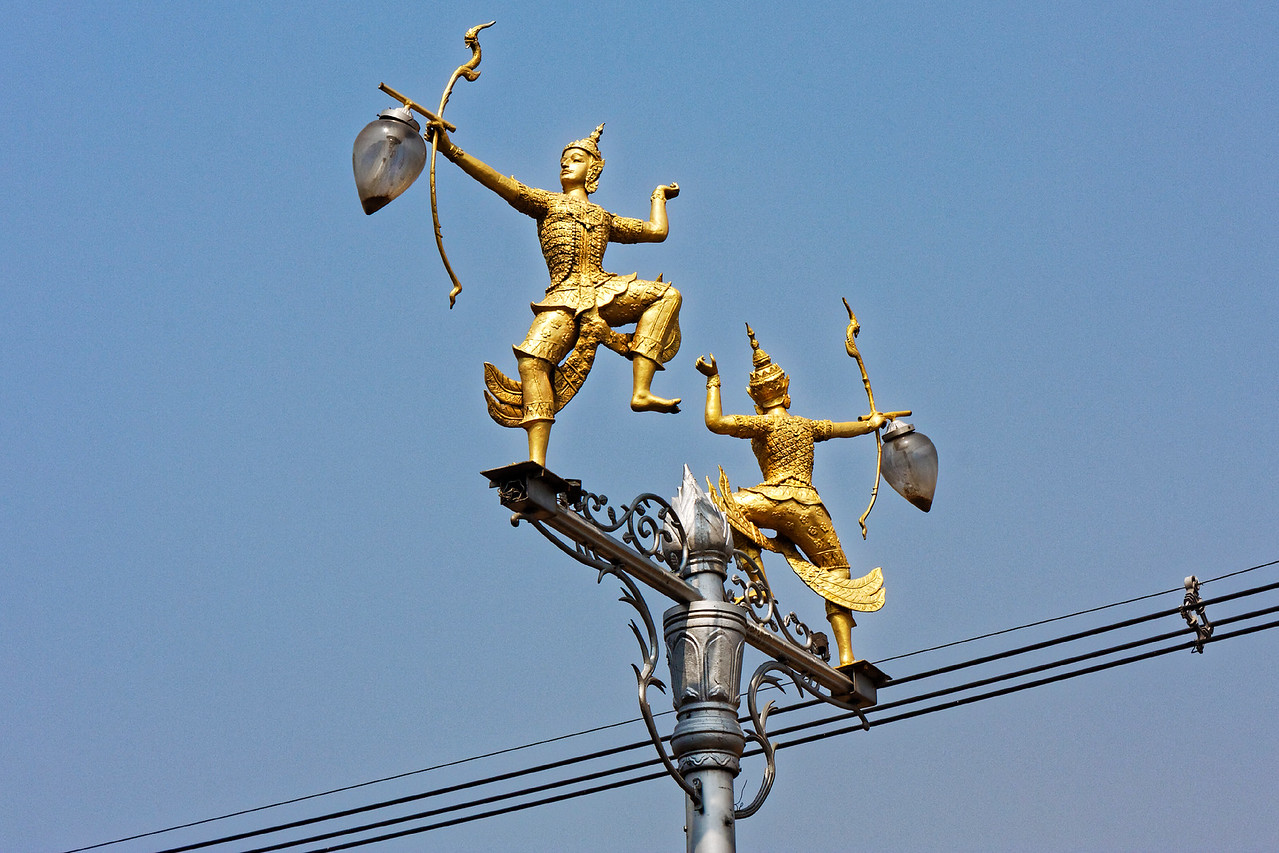 Street-lamp fixture in Lopburi, central Thailand
