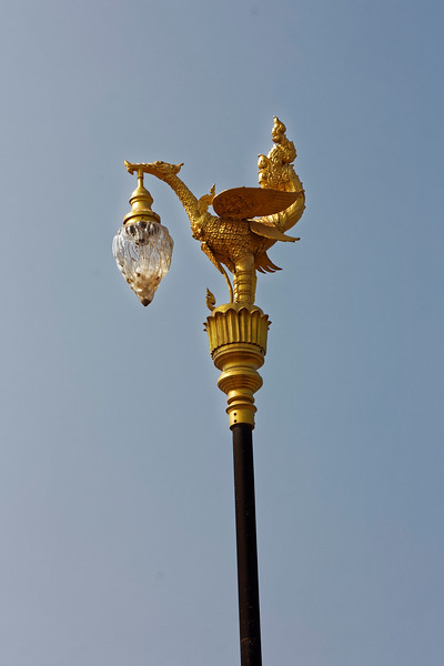 Street-lamp fixture in the shape of Supphanahongsa, golden <i>hamsa</i>—goose or swan—traditional mount of Brahma and an emblem of Thai royalty, Nakhon Phanom