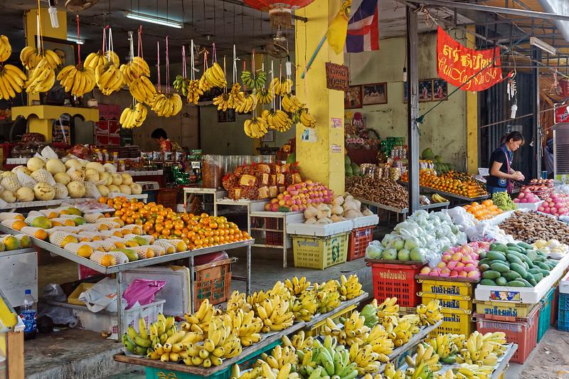 Bountiful fresh-fruit store on a downtown street in Nakhon Phanom