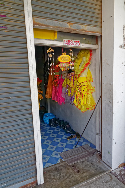 Costume-rental shophouse, Sisaket, before officially opening for business in the morning