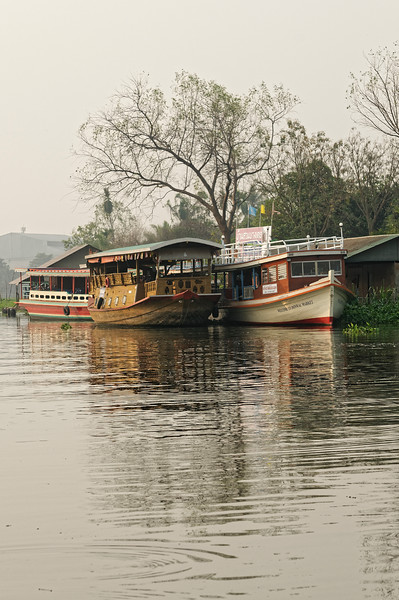 Boats on the Nakhon Chaisri River at Don Wai Market, Nakhon Pathom Province, near Bangkok
