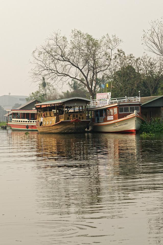 Boats on the Nakhon Chaisri River at Don Wai Market, Nakhon Pathom Province, near Bangkok