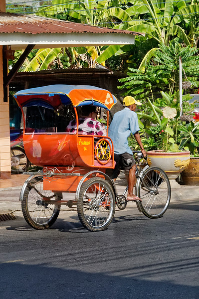 Local transportation in Sisaket via <i>samlor:</i> literally, 'three wheels'