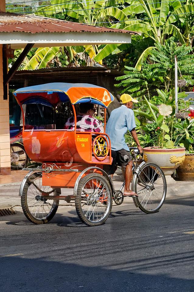Local transportation in Sisaket via <i>samlor:</i> literally, 'three wheels'