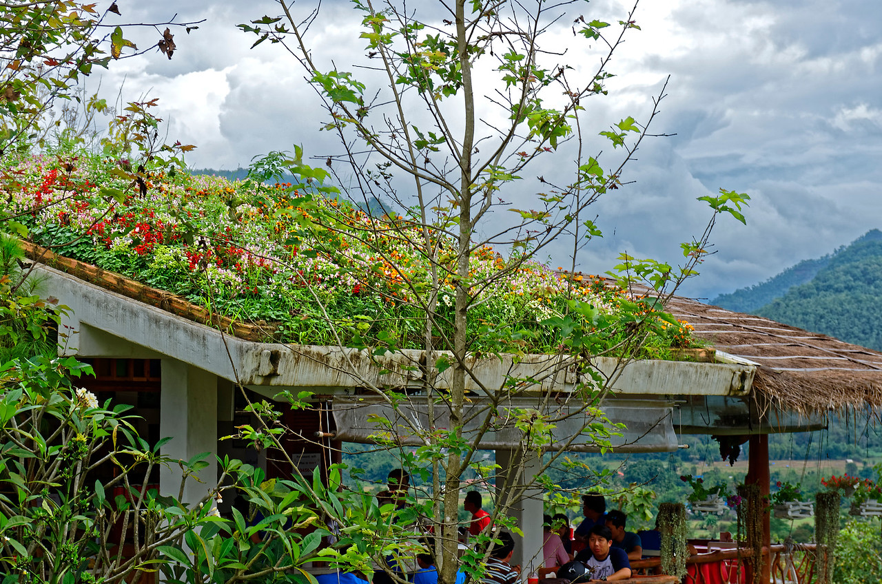 Colorful floral rooftop on a roadside restaurant outside of Pai, northern Thailand