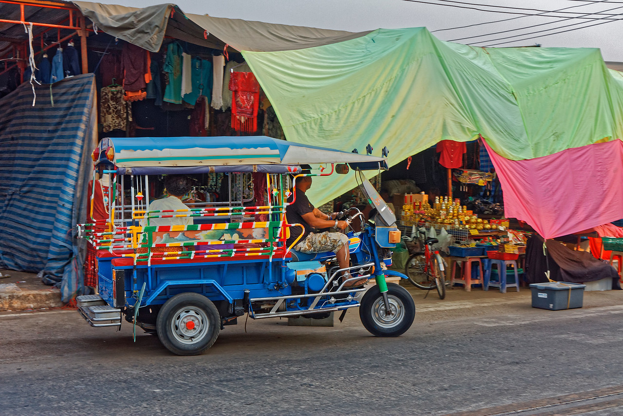 Colorful <i>tuk-tuk</i> in Nakhon Phanom, northeast Thailand