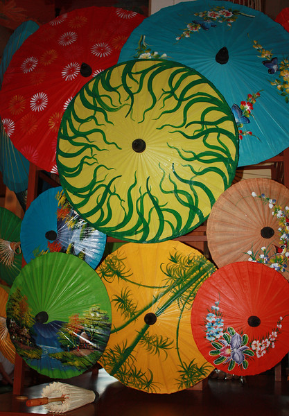 This and the following two photos of umbrellas were taken at Ban Tawai.