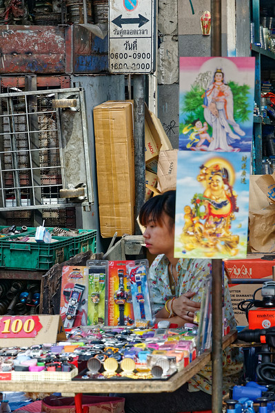 A slow day for sales at this street-side stand