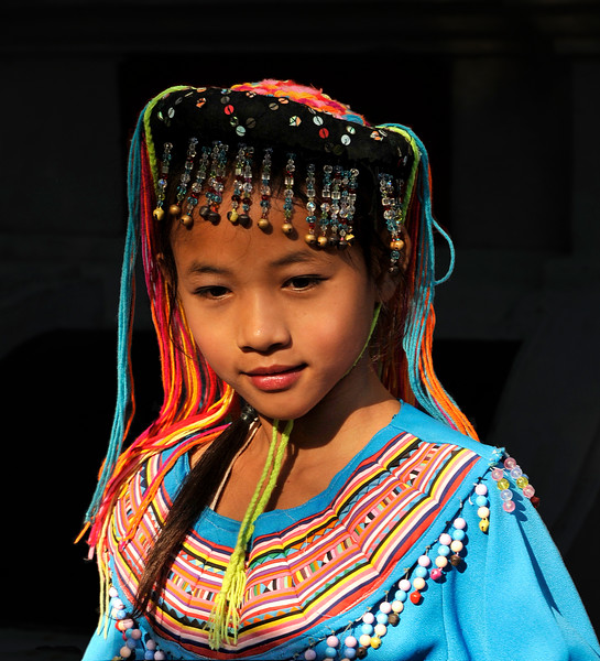 Hmong girl from Doi Pui at Wat Phra Boromathat Doi Suthep, near Chiang Mai