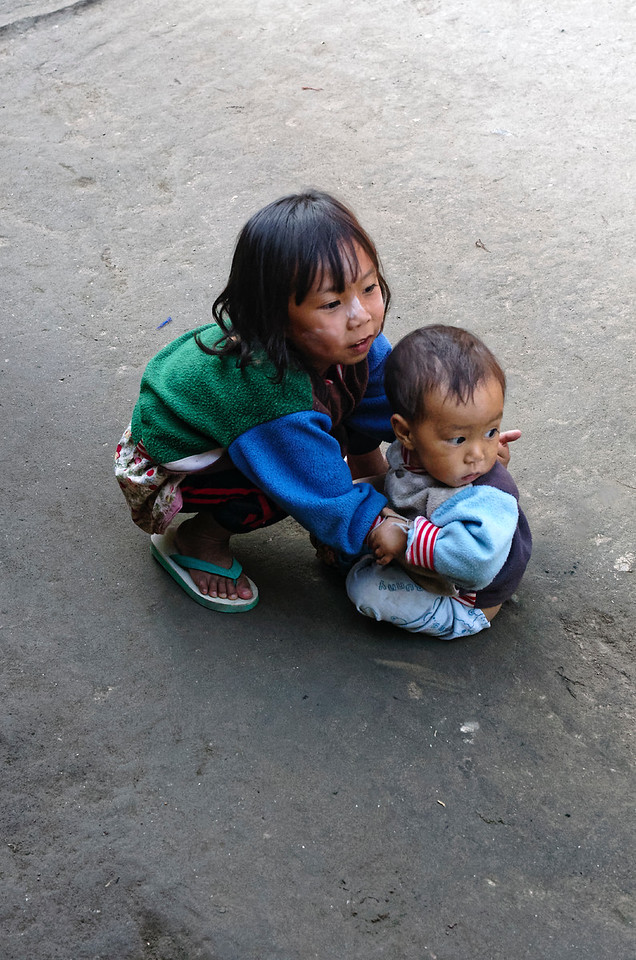 Big sister and little brother, Karen hill tribe village, Mae Sa Valley