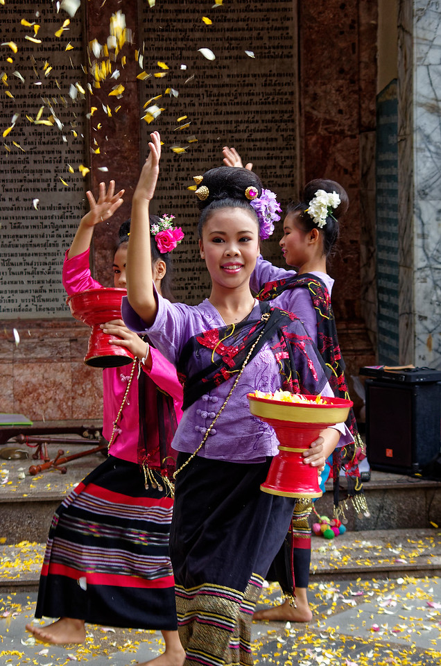 Young Hmong dancers performing at Wat Phra Boromathat Doi Suthep, near Chiang Mai