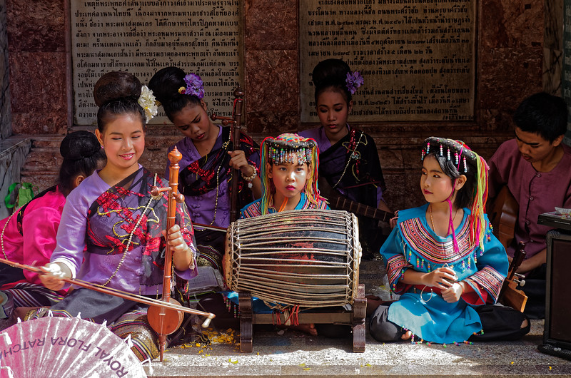 Hmong musicians providing musical accompaniment for the dancers on (mostly) traditional instruments
