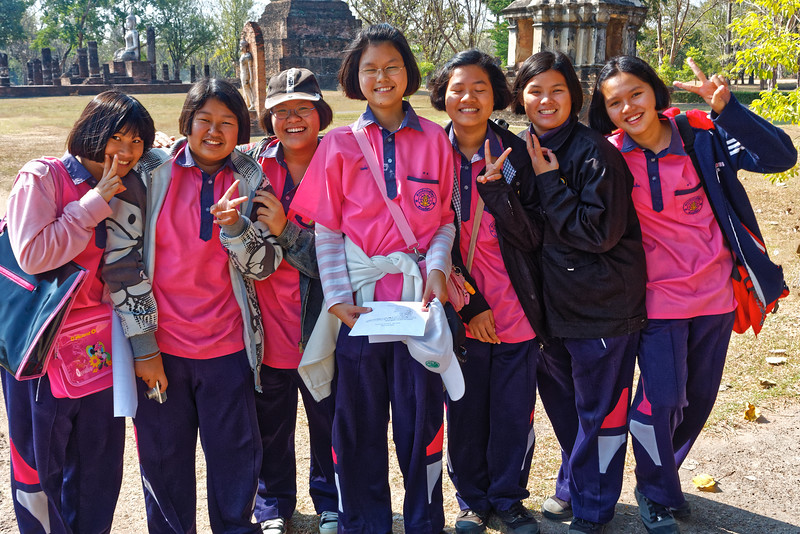 At Wat Traphang Ngoen in Sukhothai, these girls asked if they could ask me some questions, clearly an assignment for an English class. When they finished, I asked if I could take their picture. They seemed to rather like the idea. . . .